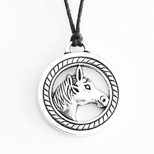 Horse Head Charm Pendant Choker Necklace with Black Cord