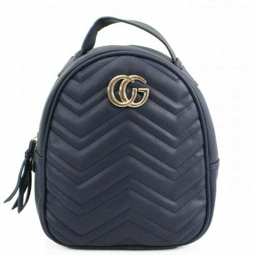 Womens Ladies Faux Leather Designer Inspired Quilted Chevron Backpack Rucksack