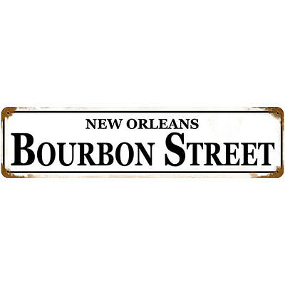 Vintage New Orleans Bourbon Street Metal Sign - Home Bar Pub Drinking Decor Gift