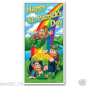 HAPPY ST PATRICK'S DAY Party Decoration DOOR COVER POT OF GOLD LEPRECHAUNS 30x60