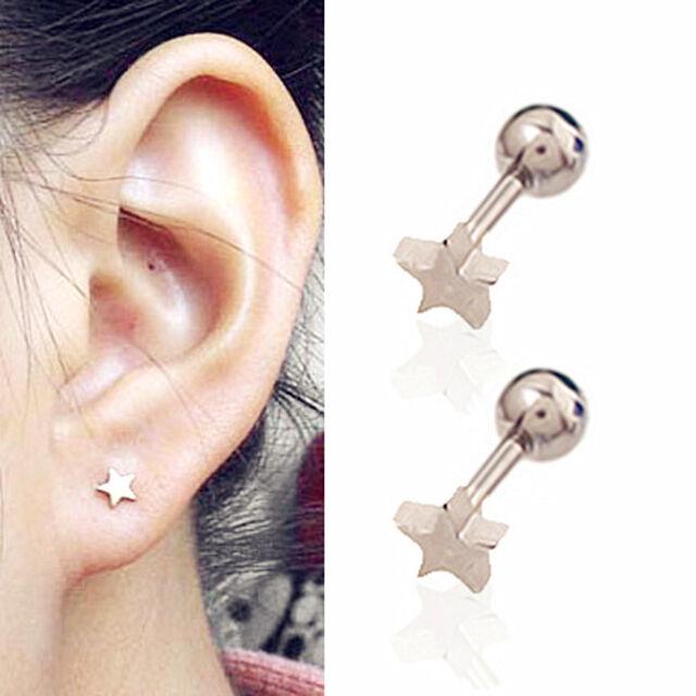 2PC Titanium steel Stars Stud Earrings Tragus Cartilage Prevent allergy E0183H