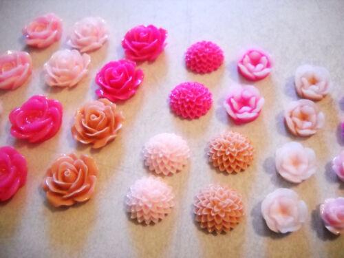 20 Flower Cabochons Resin Flower Flat Backs Assorted Cabochons Resin Cabochons