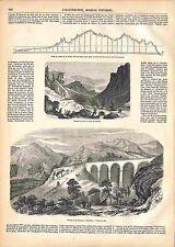 Souterrain de la Nerthe Chemin de Fer Avignon Marseille Viaduc Rio GRAVURE 1847