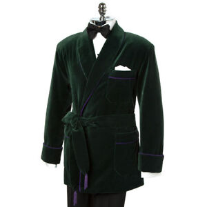 Mens Quilted Smoking Jacket Robe de Chambre Evening Dinner Host Wear Blazer Coat