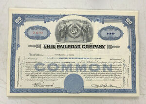 Erie-Railroad-Company-Stock-Certificate-100-Shares-1950-039-s