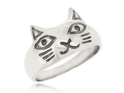 Women Cute Lovely Cat Animal 925 Sterling Silver Ring Size