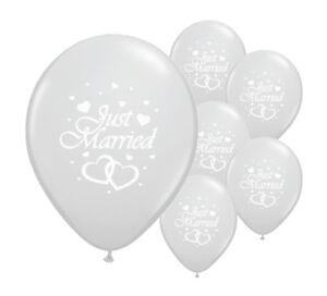"""10 Just Married Argent 12"""" Hélium Qualité Perlée Mariage Ballons (pa)-afficher Le Titre D'origine Et D'Avoir Une Longue Vie."""
