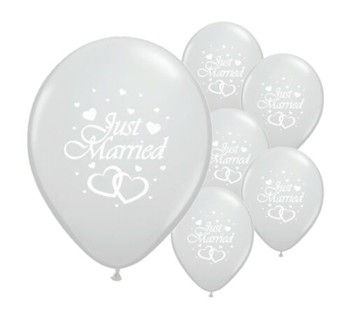 """PA 20 JUST MARRIED SILVER 12/"""" HELIUM QUALITY PEARLISED WEDDING BALLOONS"""