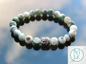Buddha-Tree-Agate-Natural-Gemstone-Bracelet-6-9-039-039-Elasticated-Healing-Stone
