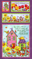 Birdhouse Gardens Fabric Panel By Debi Hron Floral Out Of Print Premium Cotton