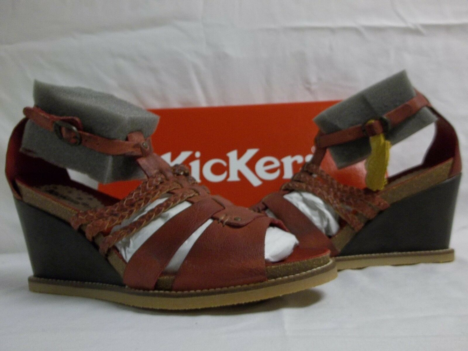 Kickers Größe 8.5 M U Wedges Find Dark ROT Leder Wedges U New Damenschuhe Schuhes 396dd6