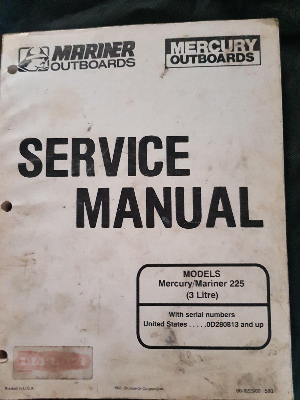Gesangbuch Mercury Mariner Außenbord 225 hp 3 L Reparaturhandbuch Werkstatt