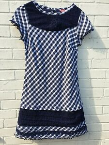 Monsoon Navy Blue Patterned Checked Cotton Dress Size Ladies Uk 12 Ebay