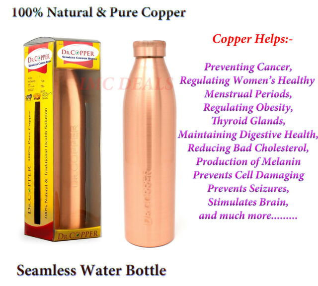 Dr. Copper World's First Seamless Natural Pure Copper Water Bottle 1000ml, 1 Ltr