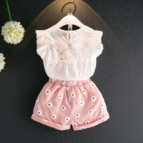 2PCS Toddler Kids Baby Girl Summer Outfit Clothes Lace Shirt Tops+Shorts Pants