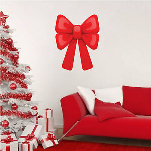 Red-Christmas-Bow-Wall-Decal-Winter-Window-Decor-Christmas-Party-Art-Vinyl-h44