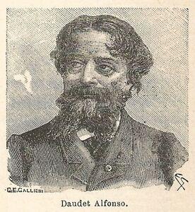 A6722-Daudet-Alfonso-Stampa-Antica-del-1925-Xilografia