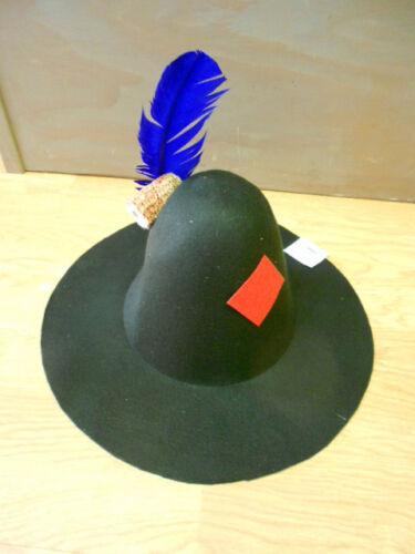 Black Felt HILLBILLY Bum HAT Feather Patch Corn Cob Pipe hobo costume scarecrow