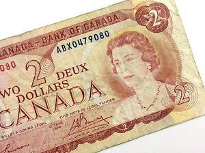 1974-Canada-2-Dollar-ABX-Prefix-Circulated-Canadian-Lawson-Bouey-Banknote-M833
