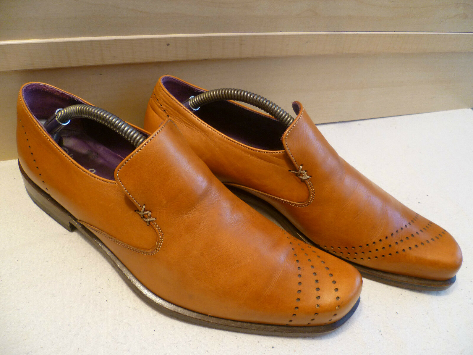 Oliver Sweeney tan full leather loafer mens vtg brown Stripe slip-on