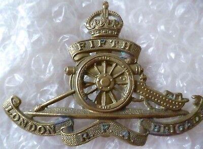 LONDON BRIGADE ROYAL FIELD ARTILLERY. BRITISH ARMY CAP BADGE 5th