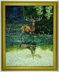 """M.JANE DOYLE SIGNED ORIG. ART OIL/CANVAS PAINTING """"CALL of the WILD"""" (ELK) FR."""