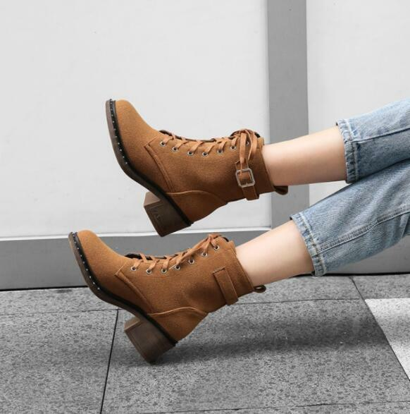 Womens Suede Mid Calf Boots Combat Round Toe Lace Up Oxford Flat Heel shoes