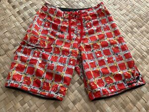 QUIKSILVER-RED-ABSTRACT-PLAID-BOARD-SHORTS-SWIM-SURF-SURFER-SURFING-TRUNKS-32-034