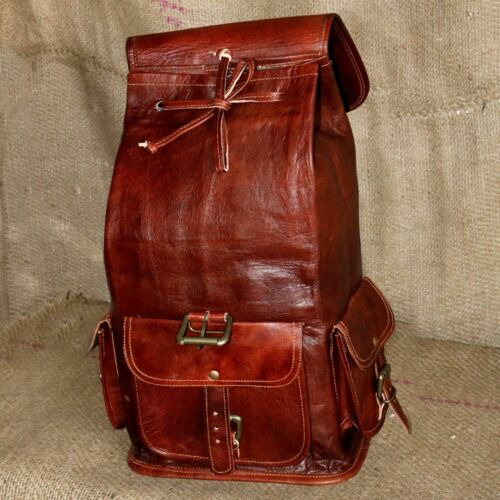Large Genuine Leather Back Pack new Rucksack Travel Bag For Men/'s and Women/'s