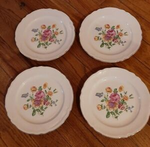 VINTAGE Semi Vitreous Floral  Edwin M. Knowles China Co. USA 4 PLATES FROM 1940s