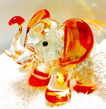 Elephant Crystal Glass Tiny Animal Figurine Orange Hand Painted Gift Collectible