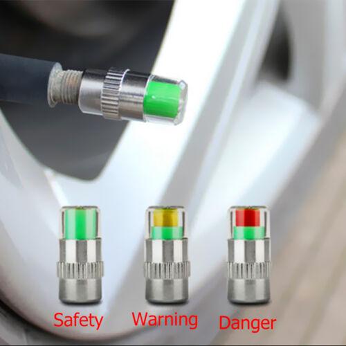 4X KFZ Reifen Ventilkappen Reifenwächter Druckanzeige 36PSI Reifendruckwäch U6A7