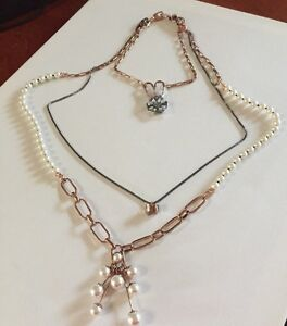 New-Triple-Neck-Choker-Mimco-X-3-Necklaces-Rose-Gold-Pearl-Dust-Bag