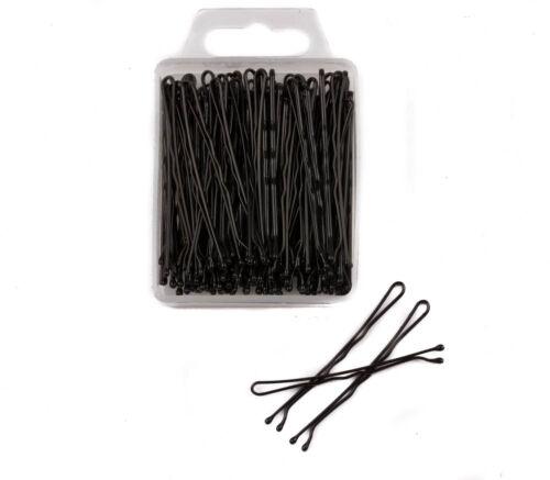 100pcs noir Kirby grip ondulé BOBBY BOB PINS agité pin cheveux cheveux poignées /& diapositives