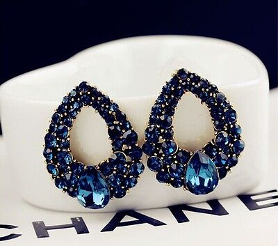1 Pair New Fashion Women Lady Elegant Blue Crystal Rhinestone Ear Stud Earrings