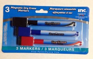 Magnetic Fine-Point Dry Erase Markers 3 Pack Red Blue