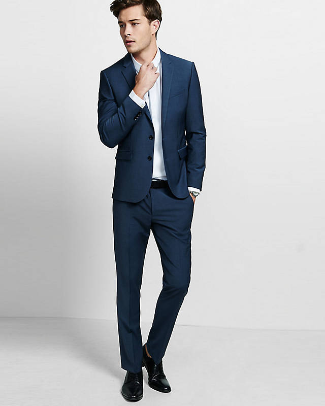 EXPRESS  NAVY blueE EXTRA SLIM PERFORMANCE STRETCH WOOL BLEND SUIT PANT 36 34