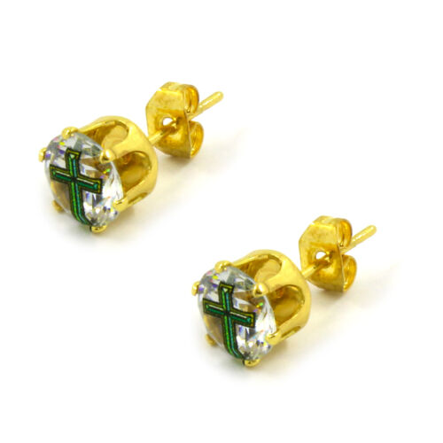 Mens Gold 7mm Round Surgical Steel Clear CZ Hip Hop Green Cross Stud Earrings