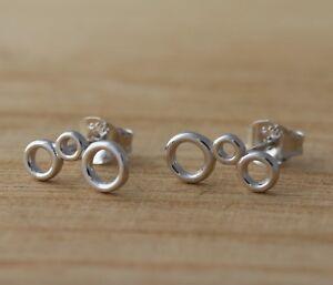 Genuine-925-Sterling-Silver-Circle-Stud-Earrings-Jewellery