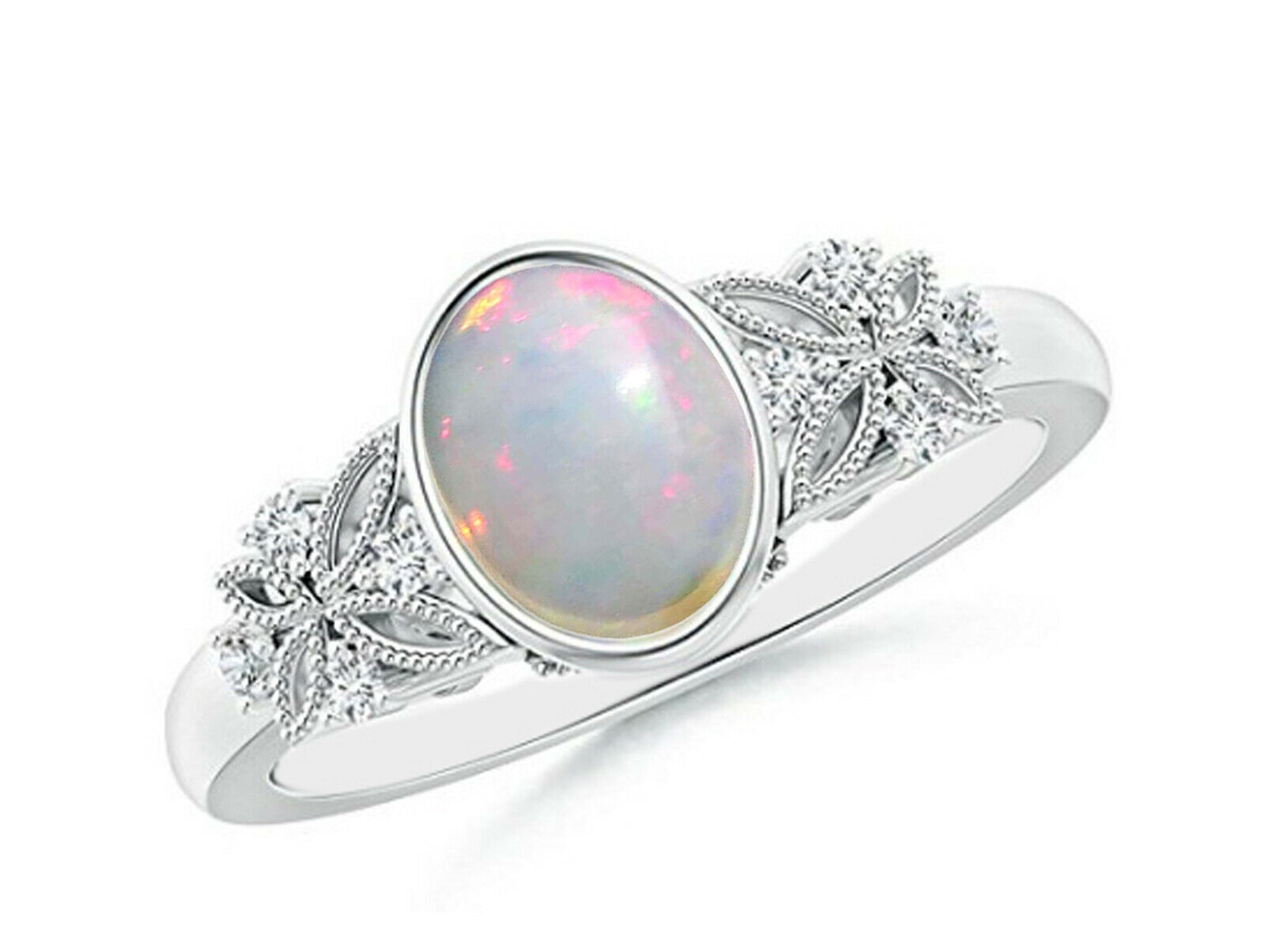 1.70Ct Natural Opal EGL Certified Diamond Ring In Real 14KT Solid White gold
