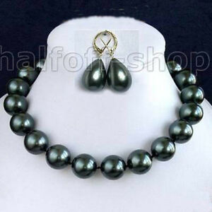 Rare-14mm-south-sea-Black-Shell-Pearl-Necklace-Earring-jewelry-set-AAA-18-034