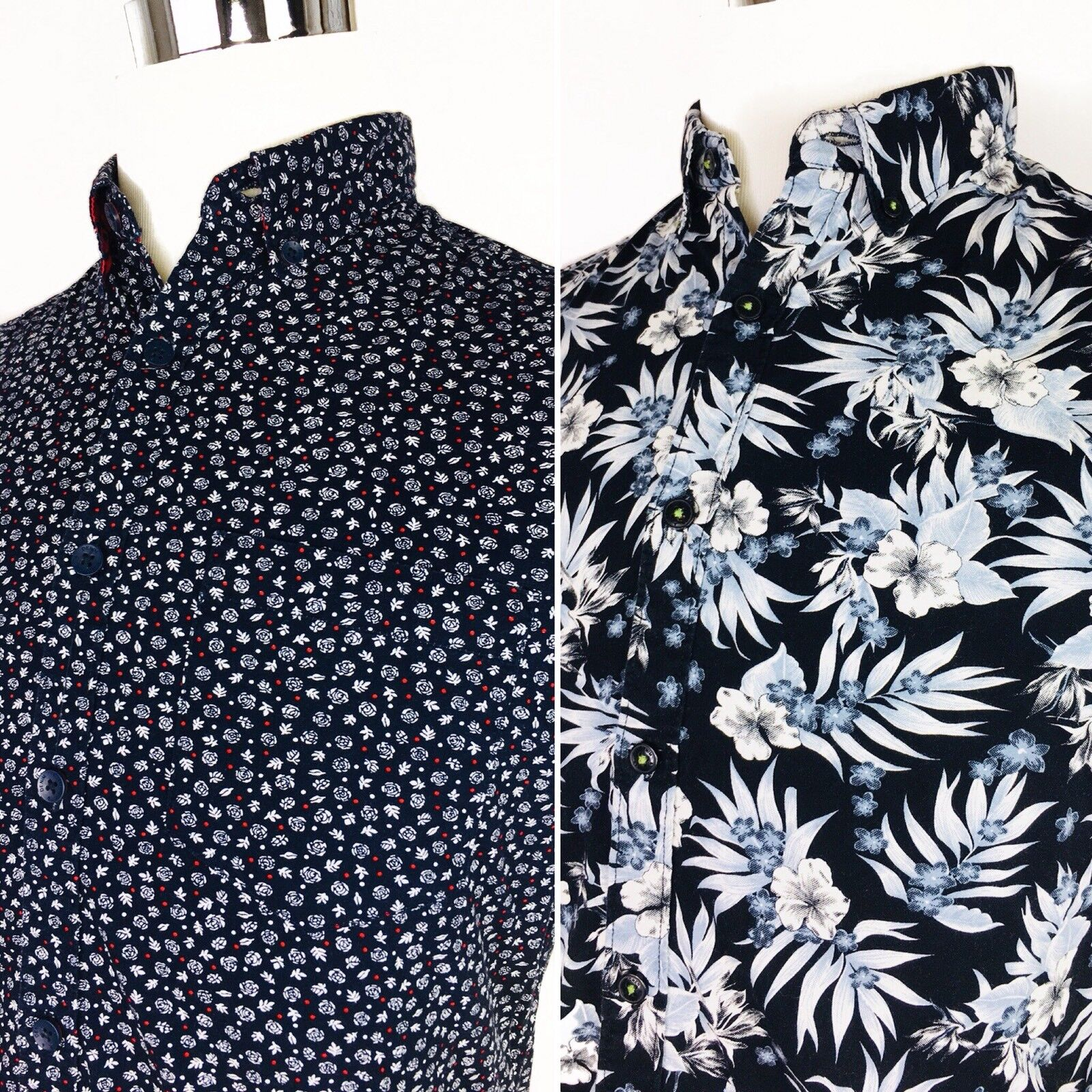 Men's Denim & Flower Short Sleeve Button Down Shirt Floral sz S Hawaiian Lot EUC