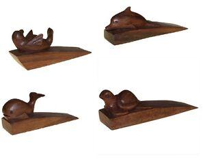 Hand Carved Wooden Animal Door Stop, Wedge, Jams, Suar Wood Cat ...