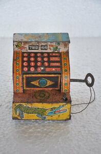 Vintage-786-44-Precioso-Juguetes-Unico-de-Cuerda-Moneda-Seguro-Caja-Coleccion