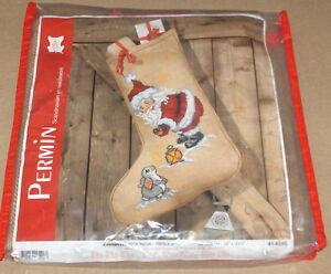 """Permin """"Santa w/ Bunny Rabbit"""" Cross Stitch Christmas Stocking Kit 24"""" x 33.5"""""""