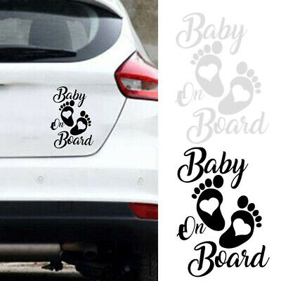 Baby on Board Foot Prints Sticker Decal Car Window Funny