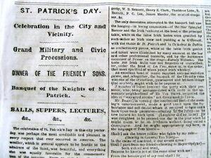 1863 Civil War newspaper w Local Descrip ST PATRICKS DAY PARADE in NEW YORK CITY