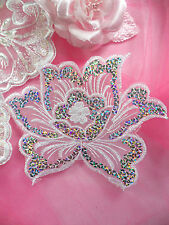 """GB66 White Embroidered Flower Silver AB Sequin Applique Patch Motif  6.5"""""""