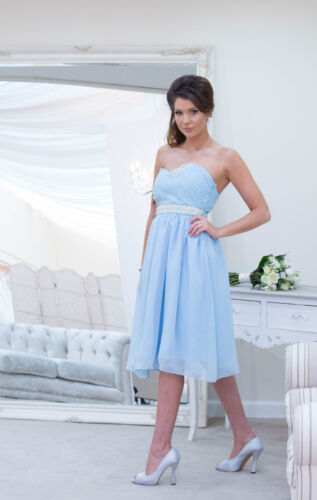 Vente en mousseline de soie sans bretelles demoiselle d/'honneur mariage robe de bal Soirée Longue Courte Maxi UK