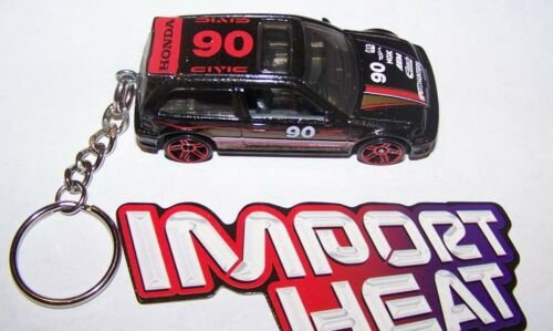 KEYCHAIN..GREAT GIFT! BLACK//RED CUSTOM MADE..1990 HONDA CIVIC RACER #90